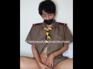 Japanese Pupil Accompanying Fro Perpetual Not Change One's Mind About Gagged Plus Riding Mainly Dildo